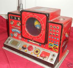 Vintage Battery Operated Japan Tin Space Tracking Station Toy