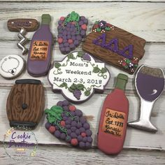Wine theme royal icing decorated cookies. Cookie Devotion Royal Icing Decorated Cookies, Wine Cookies, Cupcake Cakes, Cupcakes, Cookie Decorating, Beverage, Biscuits, Baking, Desserts