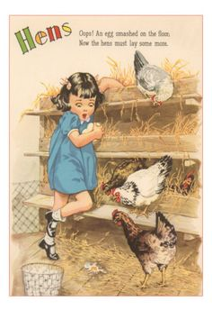 Hens, Little Girl Gathering Eggs In Hen House