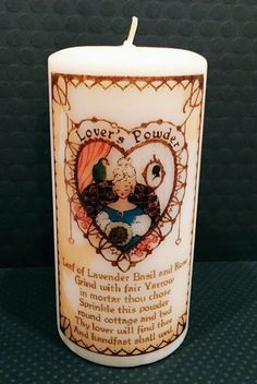 A personal favorite from my Etsy shop https://www.etsy.com/listing/265298968/vintage-love-spell-decorative-candle