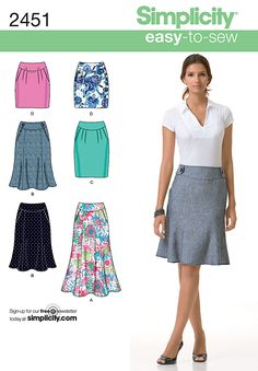 2451 Misses' Skirts Misses' skirt sewing patterns, each in two lengths. Easy to Sew Collection
