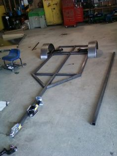 All the metal cut and laid out before welding