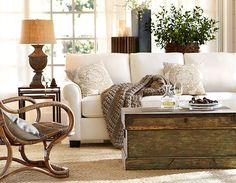 Neutral Pottery Barn Living Room....Looks really cozy!   Friday Favorites at www.andersonandgrant.com