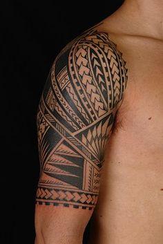 MAORI POLYNESIAN TATTOO: Samoan Polynesian Half Sleeve Tattoo
