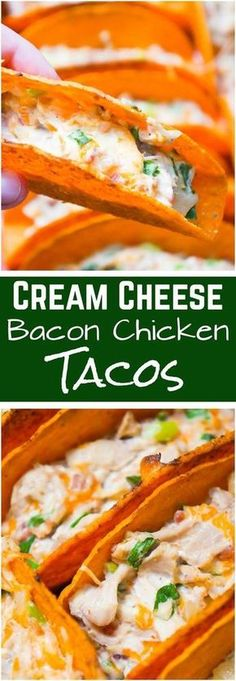 Cream Cheese Bacon Chicken Tacos are an easy dinner recipe. Stand and Stuff Taco Shells are loaded with shredded chicken, cream cheese, real bacon bits onions and cheddar cheese. These chicken tacos would also be a great party food./ have mercy I Love Food, Good Food, Yummy Food, Tasty, Easy Dinner Recipes, Easy Meals, Cream Cheese Recipes Dinner, Paleo Dinner, Dinner Ideas