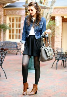 white tee, black skirt, a jeans jacket, leather ankle boots