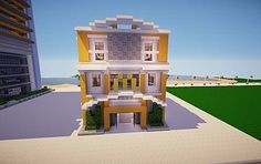 A modern burger shop i made for my city. Minecraft Restaurant, Minecraft Shops, Modern Minecraft Houses, Minecraft City Buildings, Minecraft Houses Blueprints, Minecraft Plans, Minecraft House Designs, Minecraft Survival, Minecraft Architecture
