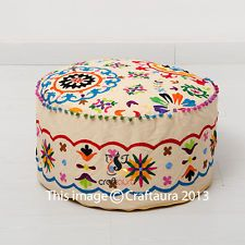 Pouf Ottoman Indian Pouffe Poof Round Pouf Foot Stool Ethnic Decorative Pillow