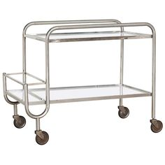 French 1940's Chrome and Mirror Bar Cart | From a unique collection of antique and modern bar carts at https://www.1stdibs.com/furniture/tables/bar-carts/
