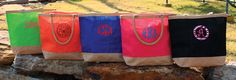 Monogrammed Happy Go Lucky totes from Initial Outfitters.  Great gift for bridesmaids.  $24