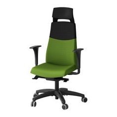 VOLMAR Swivel chair w headrest/armrests, green - green - IKEA