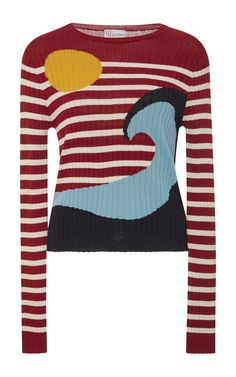 Striped Wave Sweater by RED VALENTINO Now Available on Moda Operandi