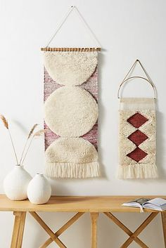 Isobel Wall Hanging by Anthropologie in Purple, Decor Crochet Wall Hangings, Weaving Wall Hanging, Boho Wall Hanging, Tapestry Weaving, Wall Tapestry, Latch Hook Rugs, Textiles, Wall Art Decor, Wall Décor