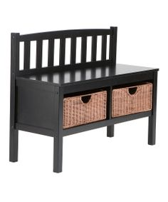 Black & Rattan Basket Storage Bench | Daily deals for moms, babies and kids