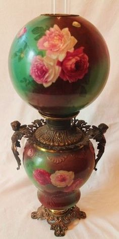 Museum Quality RARE Antique Cherub Handled Gone with the Wind Oil Lamp Victorian Lighting, Victorian Lamps, Antique Lighting, Antique Light Fixtures, Antique Oil Lamps, Vintage Lamps, Antique Hurricane Lamps, Hurricane Oil Lamps, Globe Lamps