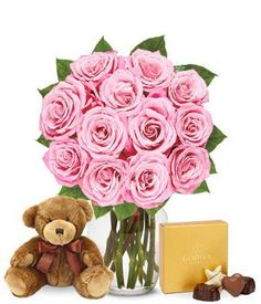 Flowers - One Dozen Pink Roses with Chocolates and a Bear (FREE Vase Included) - http://flowersnhoney.com/flowers-one-dozen-pink-roses-with-chocolates-and-a-bear-free-vase-included/