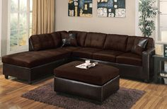 Acme 51325 Milano 3Pcs Chocolate Reversible Sectional Sofa Set Ottoman