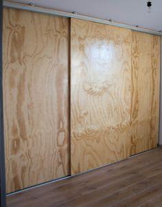 Underlayment cupboard with sliding doors – Salazo - Raumteiler Room Divider Curtain, Diy Room Divider, Sliding Wardrobe Doors, Sliding Patio Doors, Basement Shelving, Modern Tiny House, Rustic Closet, Diy Furniture, New Homes