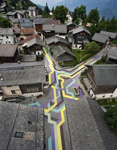 Road painting by Lang/Baumann, Vercorin, Switzerland
