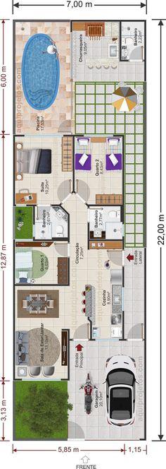 Planta de casa térrea com cozinha integrada, 3 quartos, uma suíte e espaço de lazer com piscina. Veja mais desse projeto!
