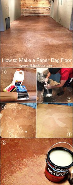 Make a Paper Bag Floor - DIY Instructions Instructions for making a paper bag floor - recycled flooring another idea for flooring!Instructions for making a paper bag floor - recycled flooring another idea for flooring! Basement Flooring, Diy Flooring, Flooring Options, Basement Remodeling, Remodeling Ideas, Cheap Flooring Ideas Diy, Inexpensive Flooring, Ceramic Flooring, White Flooring