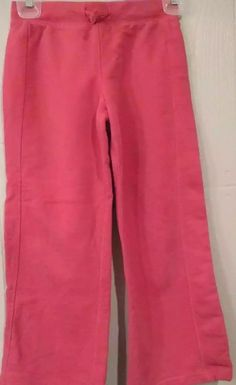 L L Bean Girls Size 8 Clothes Pants Pink Fleece Casual Flare Leg Drawstring Tie #LLBean #Everyday