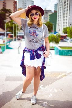 Look do dia camisa xadrez + All Star por Niina Secrets   blog : http://niinasecrets.com.br/ <3 <2
