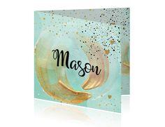 Chic geboortekaartje met acryl verf cirkel in de kleur mintgroen en goud glitter look? Voor een jongen met hartjes en glitter look confetti! Alles staat los op dit kaartje en is aan te passen! (goud is een look)