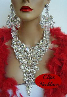 DRAG QUEEN SILVER CRYSTAL NECKLACE CHANDELIER CLIP ON EARRINGS PAGEANT BRIDAL** #CHRISTINACOLLECTION