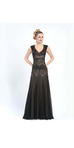 Vintage Style Sue Wong Black/Nude Long Dress $429.00 #wardrobeshop ~ I really like how the patterning stands out despite the subtle change in coloring.