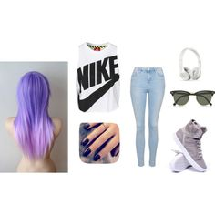 Nike by miley-bonn on Polyvore featuring NIKE, Topshop, Supra, Ray-Ban and Lottie