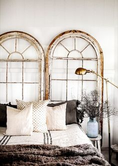 The headboard is one of the most classic elements of any home. But get creative and try one of these incredible headboard alternatives. How unexpected but fabulous do these arched windows look? Home Bedroom, Bedroom Decor, Bedroom Setup, Bedroom Ideas, Design Bedroom, Master Bedrooms, Small Bedrooms, Bedroom Lighting, Bedroom Wall