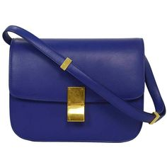 Pre-owned CELINE Indigo Calf Leather Medium Box Bag GHW ($2,950) ❤ liked on Polyvore featuring bags, handbags, shoulder bags, purses, handbags and purses, crossbody shoulder bags, blue shoulder bag, pocket purse, blue cross body purse and blue handbags