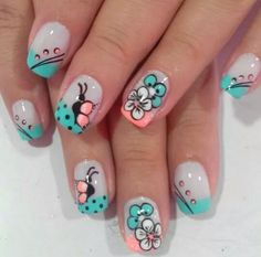 Nail Art Designs – Watch out Ladies Cute Nails, Pretty Nails, My Nails, Funky Nail Art, Cool Nail Art, Girls Nail Designs, Nail Art Designs, French Nails, Spring Nails