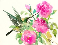 Flying hummingbird and roses by ORIGINALONLY on Etsy