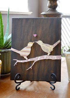 DIY canvas bird art! So easy! Hmmm would be super cute with sheet music for the birds | I am going to engrave a piece of wood with an outline like these birds, cute inspiration