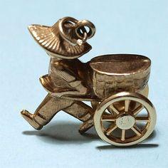1970 Gold Charm Chinese Rickshaw