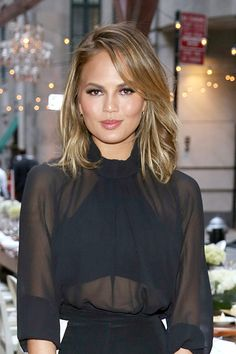 Chrissy Teigen After But, her California bronde shade adds a touch of playfulness to her look.