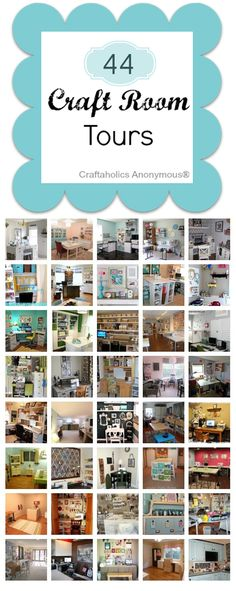 HUGE list of Craft Rooms! This is an amazing line-up of craft rooms to feast your creative eyes on! So many awesome craft supply storage and organization ideas. Scrapbook Organization, Sewing Room Organization, Craft Room Storage, Organization Ideas, Storage Ideas, Craft Room Organizing, Studio Organization, Organized Craft Rooms, Scrapbook Storage