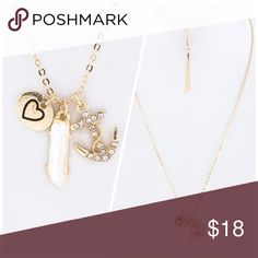 Cute Anchor Heart Charm Necklace Set Crystal Anchor ⚓️ Heart ❤️ Charm Necklace Jewelry Necklaces