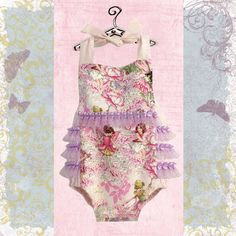 Purple Fairies Baby Girl Sunsuit, Romper Bubble with Ruffles, Ruffle Sunsuit, Baby Girl Romper, Kids Clothes