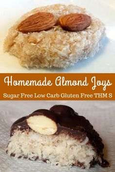Homemade Almond Joys - Low Carb, Sugar Free, Gluten/Grain/Dairy Free, THM S these's were a hit! Low Carb Candy, Keto Candy, Low Carb Sweets, Healthy Sweets, Low Carb Desserts, Thm Recipes, Snack Recipes, Dessert Recipes, Recipies