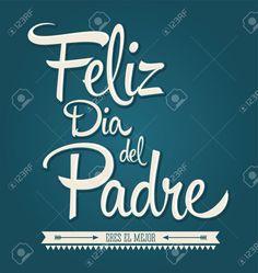 Feliz día del padre. Mensaje en español. Fondo verde. Fuente blanca.