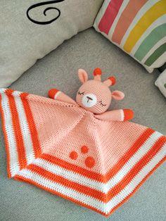 Giraffe lovey pattern, Security blanket, Crochet blanket toy, Crochet giraffe pattern