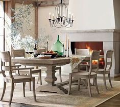 Banks Extending Rectangular Dining Table, Large, Alfresco Brown finish at Pottery Barn - Dining Furniture - Kitchen Tables Farmhouse Dining Room Table, Pedestal Dining Table, Extendable Dining Table, Kitchen Tables, Rustic Farmhouse, Barn Kitchen, Kitchen Signs, French Farmhouse, Rustic Wood