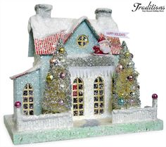 Cody Foster & Co. and Backporch Friends Folk Art collectibles by Cody Foster. Christmas Village Houses, Putz Houses, Christmas Villages, Christmas Holidays, Christmas Decorations, Christmas Ornaments, Christmas Glitter, Mini Houses, Gingerbread Houses
