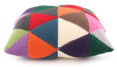 Triangle Knit Cushion - a great way to use up scrap yarn.