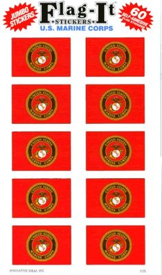Sticker Sheet: Marine Corps Seal (10 to a sheet). Use these to enclose the chocolates if I can't find them on base