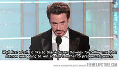 Funny pictures about Robert Downey Jr.'s acceptance speech. Oh, and cool pics about Robert Downey Jr.'s acceptance speech. Also, Robert Downey Jr.'s acceptance speech. Funny Shit, The Funny, Hilarious, Funny Stuff, Funny Humour, Susan Downey, Robert Downey Jr., Iron Man, Avengers