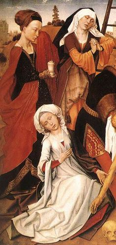 WEYDEN, Rogier van der Lamentation The white one is interesting, hanging sleeves? And is that gold one the same garment worn underneath? Medieval Paintings, Renaissance Paintings, Renaissance Art, Jan Van Eyck, Medieval Costume, Medieval Art, Robert Campin, 15th Century Clothing, Noli Me Tangere